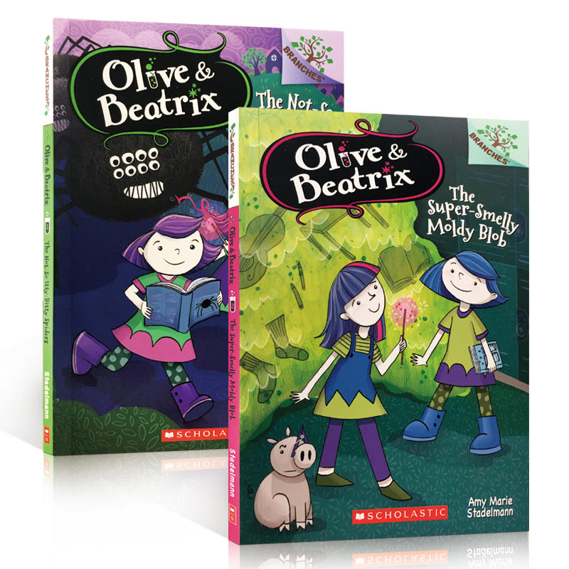 英文原版 Scholastic Branches olive and beatrix 学乐大树系列2册套装 儿童章节桥梁书 The Not-So Itty-Bitty Spiders
