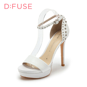 【3折到手价149.7元】迪芙斯(D:FUSE)女鞋 羊皮革细跟圆头柳钉凉鞋时尚高跟鞋 DF52111062 白色 35