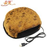 春笑 情侣款豆豆男孩 USB暖手鼠标垫/USB鼠标垫/USB电热鼠标垫(普通款棕色)T2107