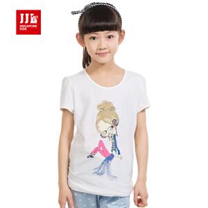 季季乐童装女童夏季短袖T恤套头圆领可爱休闲大童T恤GXT51147
