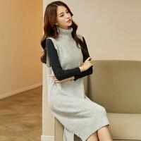 丝18新款纯羊绒针织连衣裙女中长款高领气质打底毛衣背心裙 灰色
