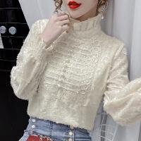 【下单立减100元 仅限今日】春装2021新款上衣加绒打底衫女秋冬季长袖洋气小衫设计感蕾丝衬衫