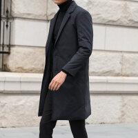 2018冬季新款男士中长款羽绒服潮流韩版西装领风衣过膝商务外套加厚时尚帅气修身款简约百搭