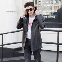 新款真皮皮衣男士中长款修身绵羊皮风衣时尚帅气连帽休闲外套PXN6002 黑色
