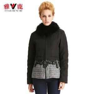 雅鹿秋冬款女印花相拼时尚短款女款羽绒服YP41630