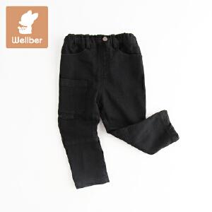 威尔贝鲁 男童休闲裤子 儿童冬季加绒长裤 宝宝秋冬厚款1-3岁