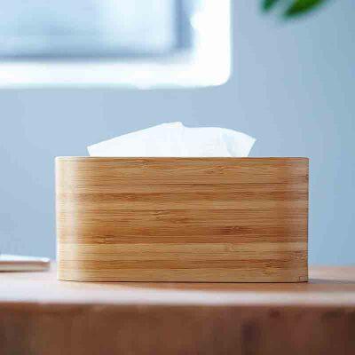 橙舍 原竹纸巾盒 竹木长方形纸巾盒创意可爱田园家用酒店抽纸盒