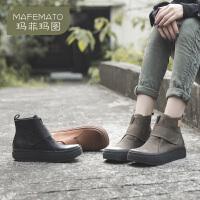 玛菲玛图马丁靴女英伦风2020新款女鞋春秋单靴子女冬牛皮复古平底机车短靴585-1