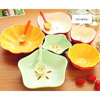 懿聚堂 日韩式创意彩色陶瓷碗 可爱儿童甜品家用手绘餐具碗盘勺