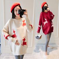 时尚款哺乳毛衣连衣裙孕妇秋冬装毛衣中长款外穿外出毛衣外套