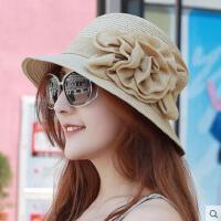 简约帽子女 韩版透气草帽亚麻花朵盆帽圆顶礼帽沙滩帽遮阳帽凉帽时尚新款