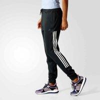 adidas阿迪达斯女裤 黑白三条纹修身收口小脚训练长裤BK2630