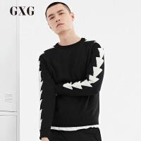 【大牌周 全场2.5折到手价:157.25】GXG男装 春季男士修身时尚黑底白条休闲圆领毛衫韩版