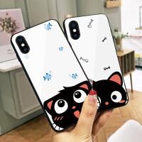 猫咪和鱼苹果6手机壳iphoneXr玻璃壳Xs韩国新款8软边硅胶6splus网红同款7情侣秀恩爱8plus硬壳Xs M