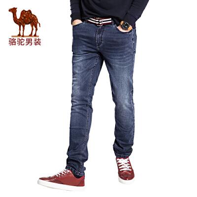 骆驼男装 秋季新款直筒水洗男士牛仔裤时尚中腰百搭长裤男