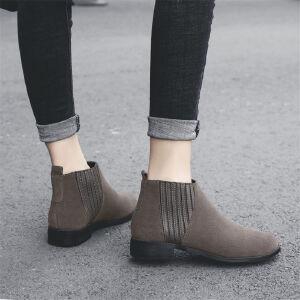 O'SHELL欧希尔新品109-TT-1欧美牛反皮低跟女士骑士靴