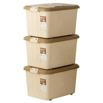 禧天龙 60L 3个装 大号塑料滑轮整理箱 环保储物收纳箱升级款超值 6063收纳盒密封 大容量