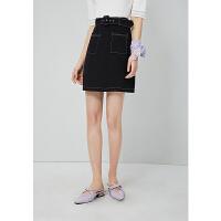 【两件2折价:75.6】高腰短裙夏装2021新款女装小众设计感明线口袋腰带半身裙