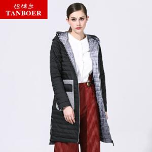 坦博尔2017秋冬新款羽绒服女中长款时尚轻薄大口袋韩版外套TB3632