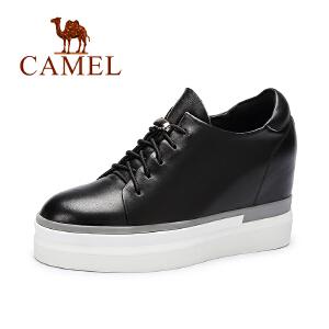 camel骆驼女鞋秋新款欧美时尚 圆头内增高系带休闲厚底深口潮鞋