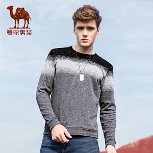 骆驼男装 秋季新款拼色圆领男士卫衣修身时尚男长袖