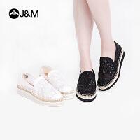 【爆款推荐】jm快乐玛丽2019春季新款松糕麻底厚底蕾丝镂空休闲渔夫鞋女鞋