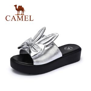 骆驼女鞋 夏季新款松糕厚底凉拖 休闲中跟女鞋 时尚拖鞋