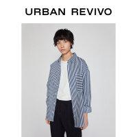 UR2020冬季新品男装时尚休闲条纹宽松西装口袋衬衫MV37SBWN2000