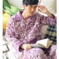 休闲长袖加厚大码夹棉家居服套装 珊瑚绒夹棉睡衣男士睡衣  支持礼品卡