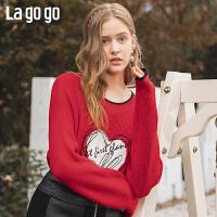 Lagogo/拉谷谷2019冬季新款圆领撞色字母刺绣针织衫女ICMM41ZC21