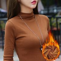秋冬新款半高领打底衫T恤上衣服内穿紧身显瘦大码女士长袖衫