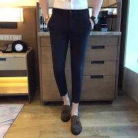 ?○男裤春小西裤男士休闲九分裤韩版潮流纯色修身小脚裤青年裤子