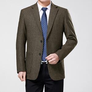 超划算】 【买了都说好】春秋季中年男士商务休闲西装爸爸装外套中老年人羊毛西服两扣单西