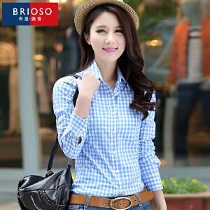 BRIOSO 女士长袖格子纯棉 秋季新品女装衬衫 韩版基础百搭修身长袖衬衫 大码衬衣 WE12195