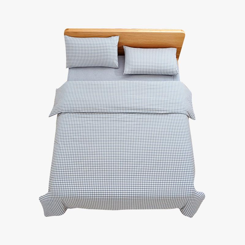当当优品家纺 纯棉日式色织水洗棉床品 1.5米床 床笠四件套 格子钴蓝当当自营 MUJI制造商代工