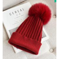 百搭休闲 保暖羊毛女士毛线帽子女潮 真毛球针织帽 百搭纯色 帽 支持礼品卡