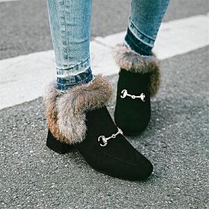 O'SHELL欧希尔新品038-5046韩版磨砂绒面粗跟中高跟女士兔毛裸靴