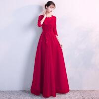 敬酒服新娘春季2018新款红色显瘦订婚结婚礼服回门服女中长款WY17017