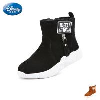 【119元任选2双】迪士尼Disney童鞋女童时装靴2018秋冬新款中大童平跟加绒保暖靴子儿童靴 (5-15岁可选)S