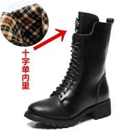 马丁靴女2019春秋季冬款显瘦中筒靴英伦风高帮防滑女靴子