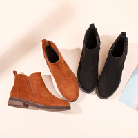 【加绒保暖细腻绒面】新品冬款平底舒适短靴百搭切尔西防滑耐