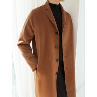 休闲毛呢时尚韩版帅气中长款男士纯色风衣宽松秋冬季潮流外套大衣d902