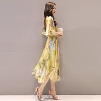 印花雪纺连衣裙女沙滩裙新款2018波西米亚裙子中长款度假长裙