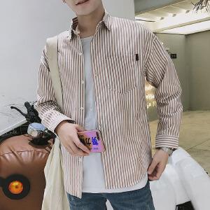 港风秋季长袖宽松条纹衬衫男士秋季长袖韩版潮流休闲学生薄款衬衣