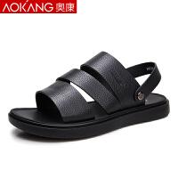 奥康凉鞋男夏季男士休闲沙滩鞋软底真皮两用凉拖鞋防滑男