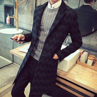 秋冬风衣男中长款韩版修身羊毛呢子大衣呢料披风英伦青年休闲外套