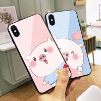 爱心口水小猪苹果6s手机壳xs max猪年可爱新款iphone8玻璃x趣味卡通6plus情侣7个性创意8plus全包边