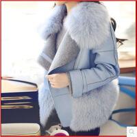 2018女装新款秋冬大毛领毛呢外套韩版羊毛呢大衣皮毛一体反季