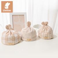 威尔贝鲁 彩棉纱布婴幼儿胎帽 纯棉春夏薄款新生儿宝宝用品帽子