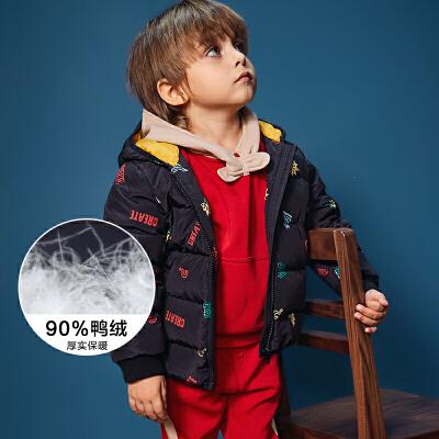 迷你巴拉巴拉男童连帽印花羽绒服冬新品童装加厚保暖宝宝外套